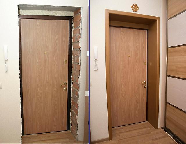 отделка входных дверей в магазине